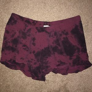 Tie dye shorts with ruffle detail